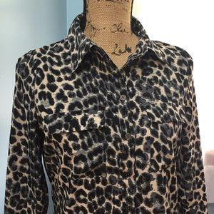 BCBGMaxAzria Animal Print Button Down Shirt
